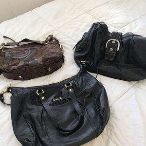 Three Coach bags